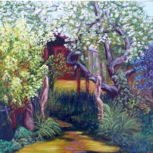 APPLE BLOSSOM AT THE STUDIO ACRYLIC ON CANVAS by Valerie Nerva