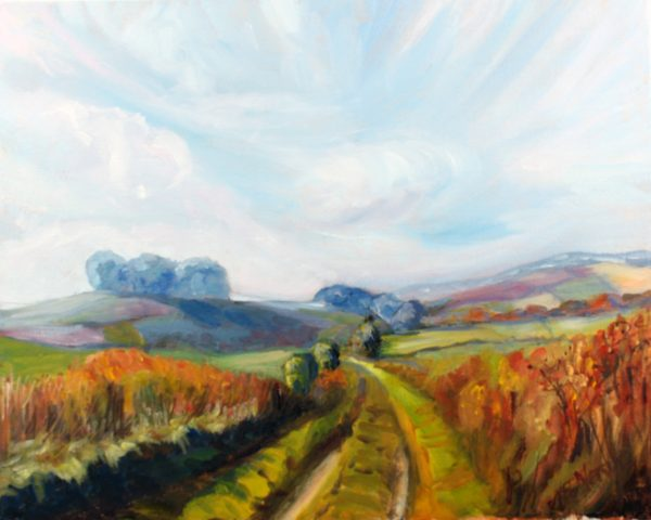 AUTUMN WALK TO WINDMILL HILL OIL ON CANVAS BOARD by Valerie Nerva