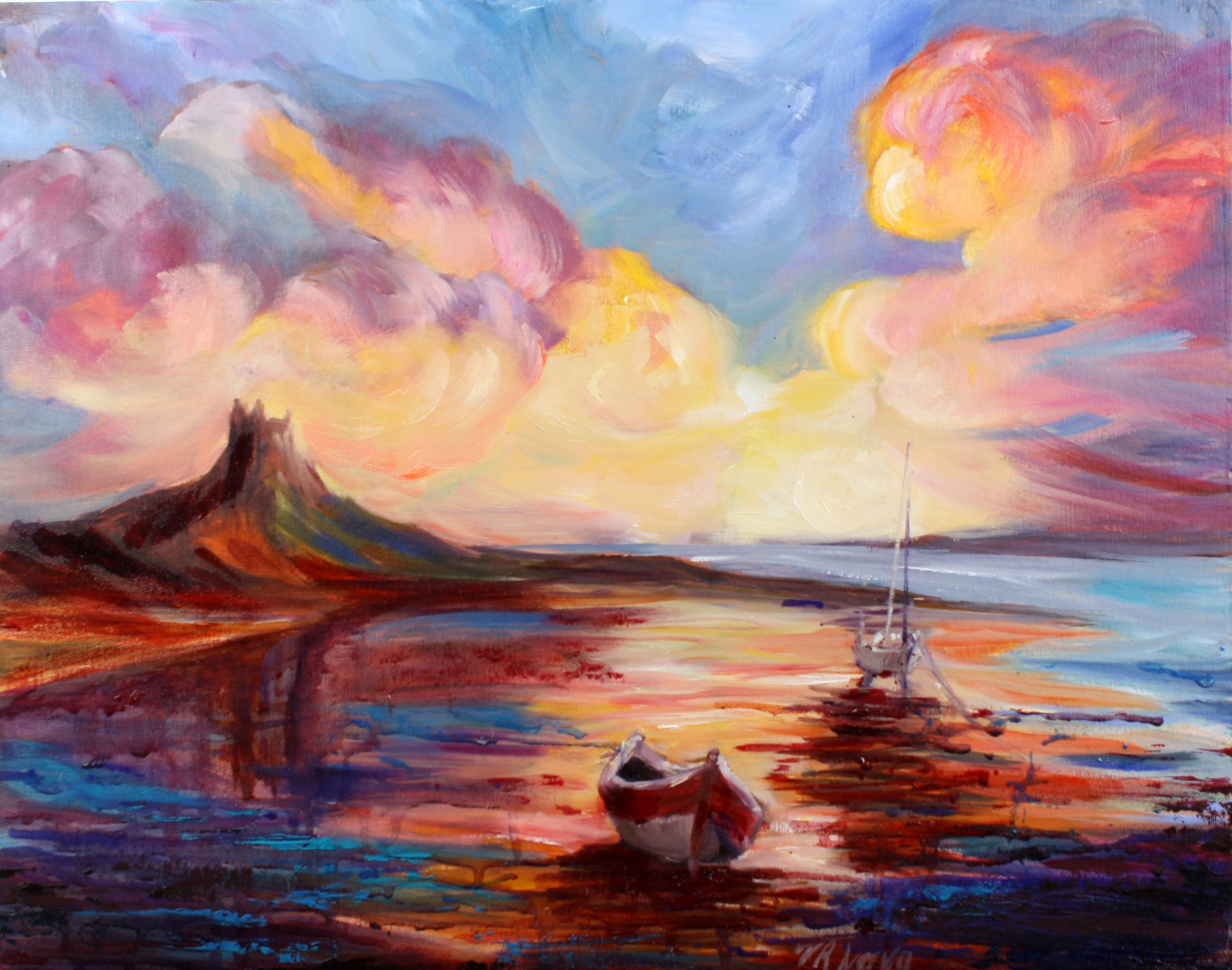 LINDISFARNE SUNSET by Valerie Nerva