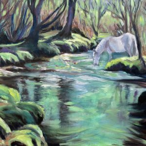 WHITE HORSE AT GORLEY 1 by Valerie Nerva