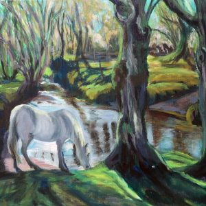 WHITE HORSE AT GORLEY 2 OIL ON CANVAS by Valerie Nerva