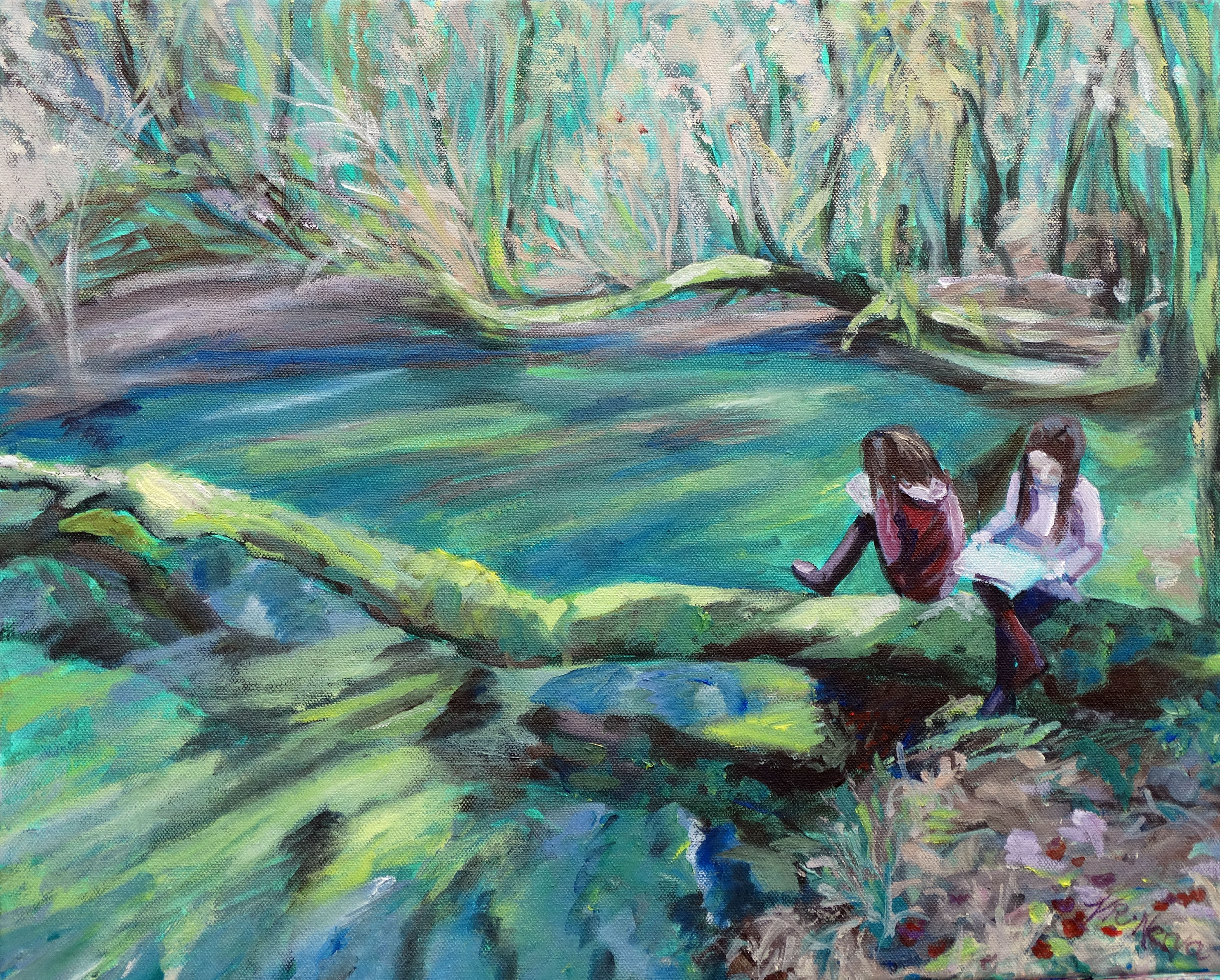 YOUNG ARTISTS AT ELF CUP POND by Valerie Nerva