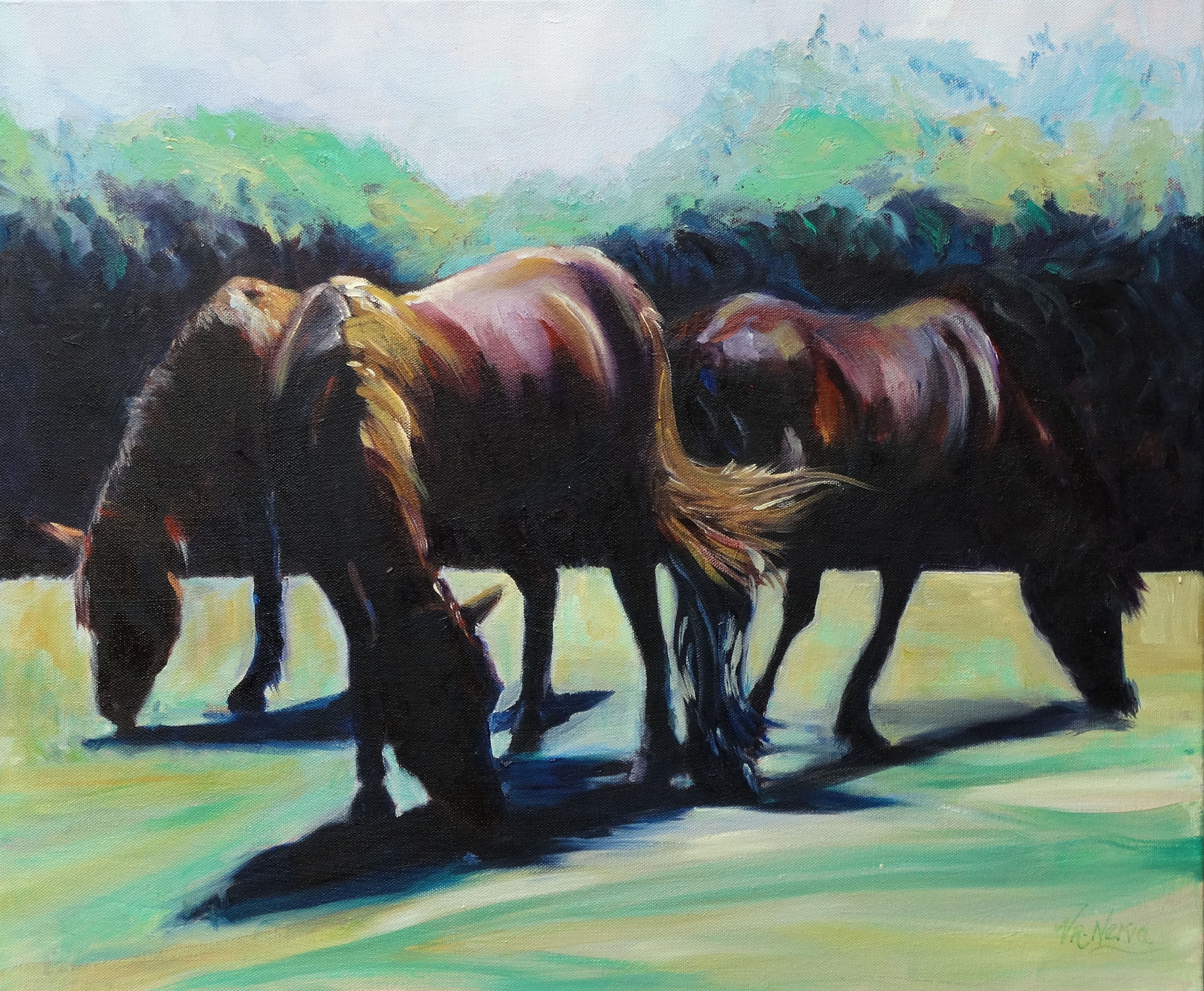 THREE COLOURFUL HORSES by Valerie Nerva