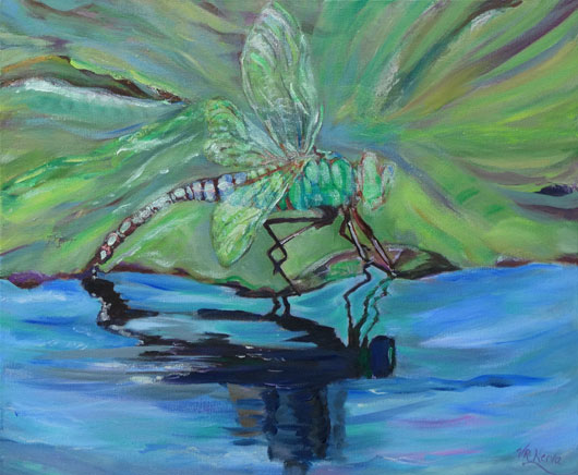 Dragonfly, original painting by fine artist Valerie Nerva