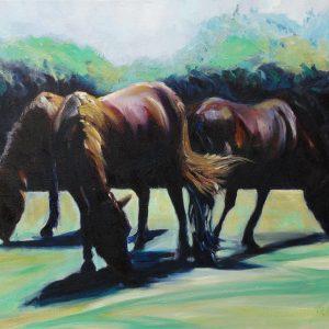 THREE COLOURFUL HORSES