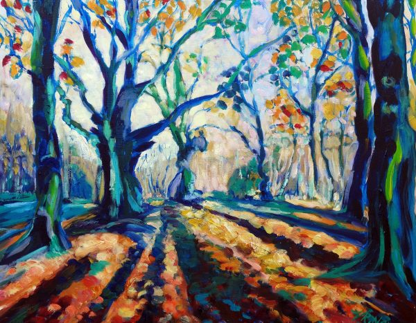 AUTUMN FOREST, BLUE SHADOWS by Valerie Nerva