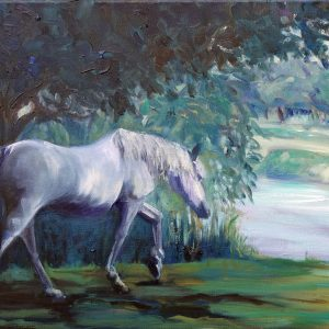 WHITE HORSE AT CADNAM POOL by Valerie Nerva